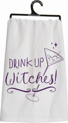 primitives by kathy kitchen towel drink up witches - Primitives By Kathy Halloween