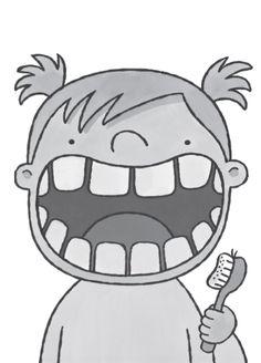 Tanden poetsen met een tandenborstel en witte verf