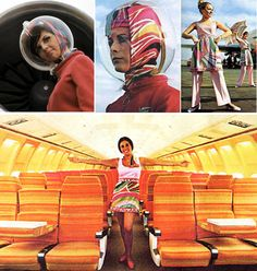 Stewardesses wore Pucci and space helmets Flight Attendant Life, Jet Plane, Cabin Crew, Air Travel, Space Age, Pucci, Pilots, Fashion History, Vacation Trips