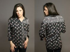 Vintage 1980's TwoPattern Floral Oversized by SeamlessVintage, $13.00
