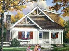 Here's a rustic cutie! There's a great layout inside, with the kitchen open to the gathering area. See it at http://www.dreamhomesource.com/house-plans/dhs/designers/designer-9887/dhsw075754.html#