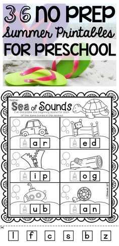 36 no prep summer printables for preschool kids.  Check out the preview to see how they promote the development of basic skills such as number and letter recognition, beginning sounds, number concept, pencil control and cutting skills. $