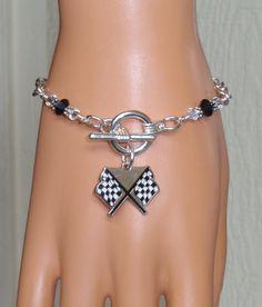 Nascar Checkered Flag Crystal Bling Charm Bracelet by scbeachbling, $24.50