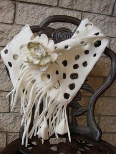 White felted scarf