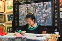 Китайская вышивка шелком- Купить готовую картину вышитую крестом в подарок на свадьбу, день рождения