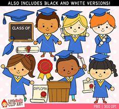 Graduation Clipart - Blue Gown - Color Clip Art and Blackline Digital Stamps