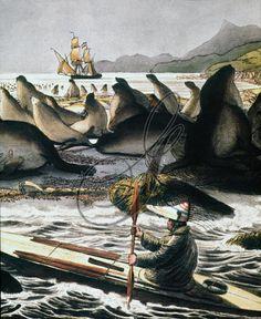 ALEUT HUNTER, 1816. An Aleut hunter wearing a wooden peaked hat, in the Bering Sea. Watercolor, 1816, by Louis Choris.