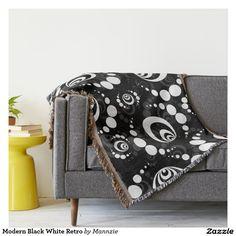 Modern Black White Retro Throw Blanket