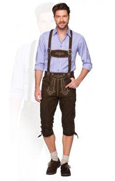 Bavarian leather trousers knee length Justin2 h-beam dark brown