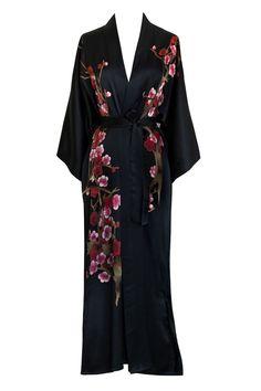 Handpainted Cherry Blossom Kimono Robe