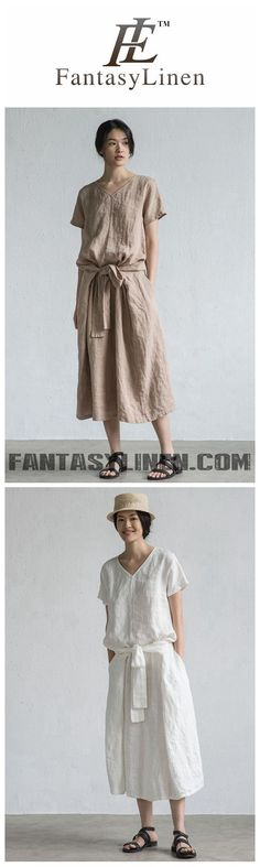 SUMMER ROUND NECK LOOSE BELTED LINEN DRESS LT DESIGN L1452