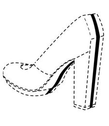 The mark consists of a solid continuous stripe on a woman's high-heeled shoe, the stripe running from the rear upper part of the shoe, down the rear of the heel, through the bottom of the sole and terminating at the front tip of the sole