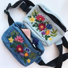 Hip bag Belt bag Waist bag Hip pouch Belt pouch Fanny pack Pocket belt Crossbody purse Hand embroidered bag Hip pack Gift for her Tesettür Çanta Modelleri 2020 Embroidered Hats, Embroidered Flowers, Flower Embroidery, Embroidery Stitches, Hand Embroidery, Waist Purse, Belt Pouch, Outfit Trends, Hip Bag