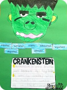 Today we focused on describing Crankenstein as a class. They did a great job of giving me adjectives and justifying them with evidence from the text! 1st Grade Writing, Second Grade Teacher, 4th Grade Reading, Adjectives Activities, Reading Activities, Halloween Stories, Halloween Activities, Character Traits Activities, Shades Of Meaning