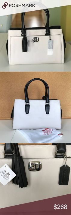 """COACH LEGACY TWO TONE HALEY SATCHEL *NEW* Classic Coach satchel in mushroom and black.  Inside zip w/ multifunctional pockets.  Zip closure and outer front open pocket.  4 metal feet.  In pristine condition. Stored in original Coach dust bag along with protective sleeve for iconic Coach tag and tissue to hold its form.  Length: 13"""" Width: 6 1/4"""" Height: 8 1/4"""" Handle drop: 6"""" Coach Bags Satchels"""