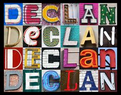 Personalized Poster featuring DECLAN showcased in letters from photos of signs! by SignYourNames  #declan #poster #popart #wallart #personalized #gifts