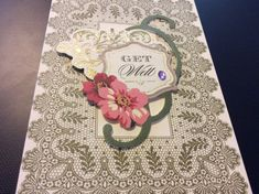 3D Get Well Banner Greeting Card floral background with by EMTWTT