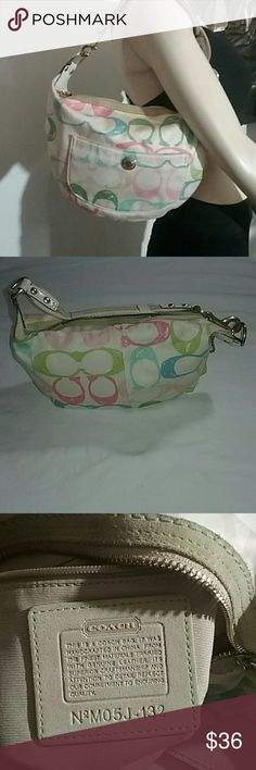 Authentic Coach Sholderbag Soft multi-color coach signature bag. Clean and undamage. Coach Bags Shoulder Bags
