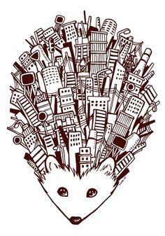Urban Hedgehog Art Print by Kata (koomalaama)