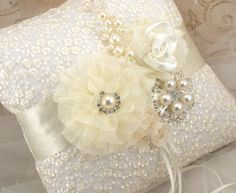 Ring Bearer Pillow  Bridal Pillow in shades of Ivory by SolBijou, $125.00