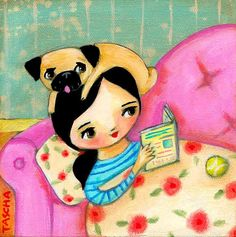 PUG dog reading a book CUTE little PRINT of a painting by tascha
