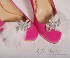 white Ivory bridal shoe clips wedding shoe clips by GildedShadows, $41.95