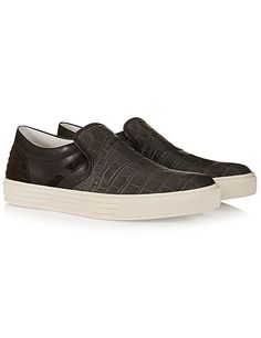#HOGANREBEL Men's R206 Croc-effect leather slip-on sneakers with leather trims and suede panels. Street spirit is at ww.hoganrebel.com