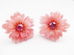 Vintage Earrings Rhinestone Flower Molded Plastic Clip on Lots Detail