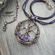 Copper Wire Wrapped Amethyst Tree of Life Necklace - Healing Crystal Point Tree on Silk Cord