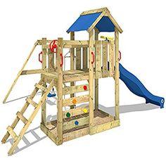 WICKEY Spielturm MultiFlyer Kletterturm Spielplatz Garten mit Schaukel, Rutsche und Kletterwand, blaue Rutsche + blaue Plane: Amazon.de: Spielzeug