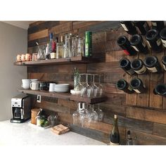 Rustic Basement Bar, Basement Bar Designs, Home Bar Designs, Wet Bar Designs, Basement Ideas, Diy Home Bar, Home Bar Decor, Bars For Home, Bar Shelves