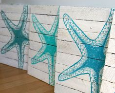 Painted starfish 12x12 reclaimed wood from by LittleShoreHouse, $50.00