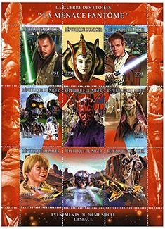 Star Wars stamps - Star Wars The Phantom Menace - 9 stamps. Mint and never mounted stamp sheet Star Wars Origami, Postage Stamp Art, Going Postal, The Phantom Menace, Hollywood Icons, Star Wars Toys, Star Wars Characters, Stamp Collecting, History