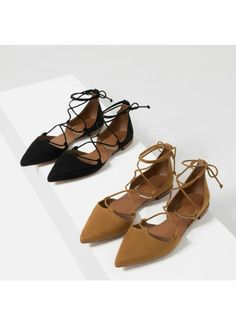 ZARA lace up flats. Already have the black, need the brown!