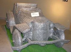 Herman Divers, also known as the master of pull-tab engineering, is known for creating impressive sculptures exclusively out of aluminum pull tabs.