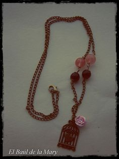 """Collar """"amour en cage rose """""""