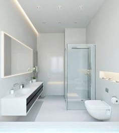 Badezimmer Modern Einrichten Abgehängte Decke Indirekte ... Bad Beleuchtung Modern