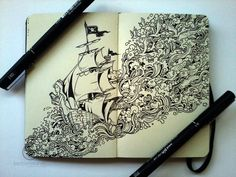 "ink ""doodles"" by kerby rosanes sail off the page (via my modern metropolis)"