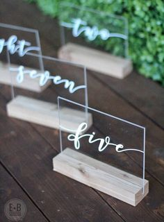 White Calligraphy Acrylic Wedding Table Numbers with Wood Stand // rustic, boho, classic