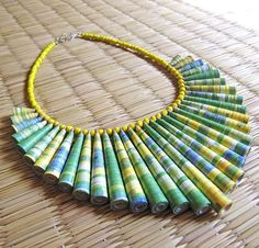 Paper Bead  Lime Green Necklace by HippieKingdom