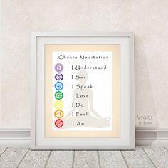Chakra Meditation Art Print - 8x10 - Yoga Studio Art - Meditation Room - Item #540
