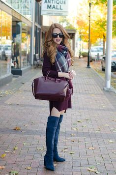 navy wine sweater dress, tights, grey suede boots, with plaid blanket scarf