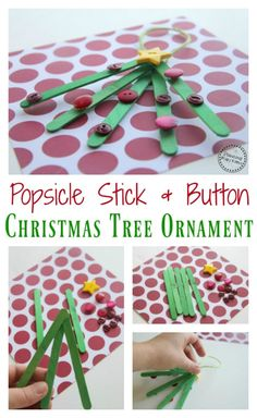 Cute Popsicle Stick Christmas Ornament diy for kids.