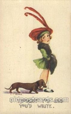 Vintage postcard with Dachshund and girl.  oldpostcards.com