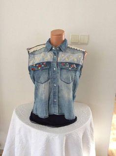 design jean jacket, handmade coat jacket, bohemian clothing, boho fashion, bohemian style jacket, lace jacket, boho chic jean jacket, by leylanyjacket on Etsy