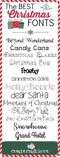 The BEST Christmas Fonts via createcraftlove.com  ~~ {13 Free fonts w/ links}