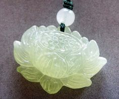Natural Green Jade Lotus Amulet
