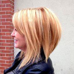 strawberry blonde layered bob