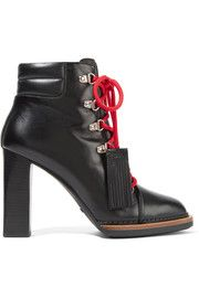 Tasseled leather ankle boots