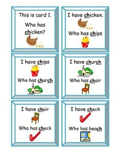I Have, Who Has Game - CH Digraphs great with pictures to help ESOL students. Get them talking!
